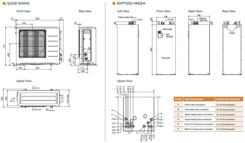 medium resolution of mitsubishi electric ecodan quhz w40va ehpt20q vm2ea air source heat pump with thermal